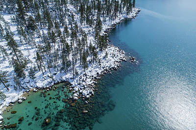 Photograph - East Shore Winter Aerial By Brad Scott by Brad Scott