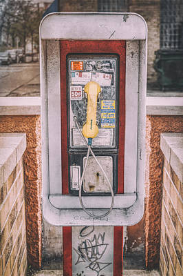 Black And White Horse Photography - East Side Pay Phone by Scott Norris