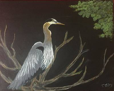 Herron Painting - East Tennessee Blue Herron by Terry Tuley