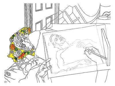 Drawing - East Village Loft Bed by Stan  Magnan