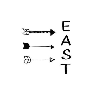 Digital Art - East With Arrows- Art By Linda Woods by Linda Woods