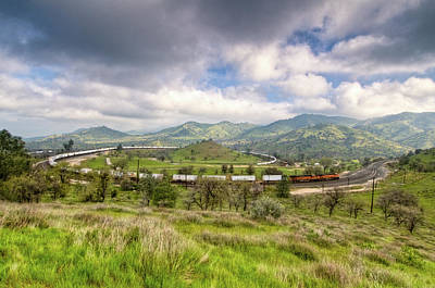Photograph - Eastbound Train At The Tehachapi Loop by Connie Cooper-Edwards