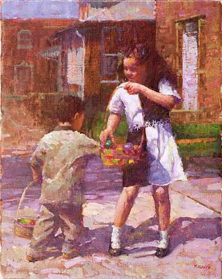 Wall Art - Painting - Easter Basket by Miguel Malagon