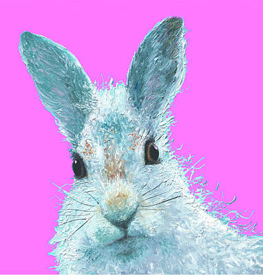 Girl Painting - Easter Bunny On Pink by Jan Matson