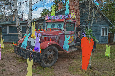 Photograph - Easter Bunnies Antique Tow Truck In Woodland Park, Colorado, The City Above The Clouds  by Bijan Pirnia