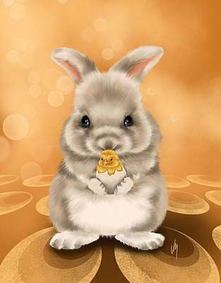 Sweetness Painting - Easter Bunny by Veronica Minozzi