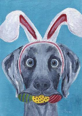 Painting - Easter Bunny Weimaraner by Jamie Frier