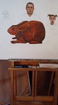 Dark Humor Painting - Easter Dinner Work In Progress by Leah Saulnier The Painting Maniac