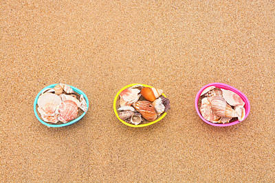 Easter Egg Baskets On Beach Art Print