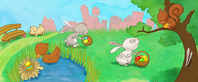 Easter Egg Hunt Art Print