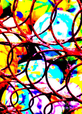 Woven Wire Photograph - Easter Eggs 1 Abstract by Ken Lerner