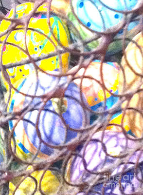 Woven Wire Photograph - Easter Eggs 15 Abstract  by Ken Lerner