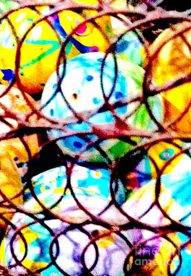 Woven Wire Photograph - Easter Eggs 2 Abstract by Ken Lerner