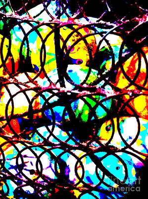 Woven Wire Photograph - Easter Eggs 7 Abstract by Ken Lerner