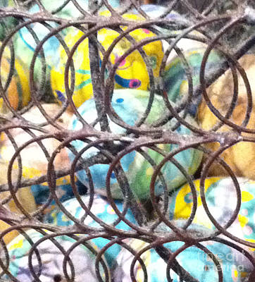 Woven Wire Photograph - Easter Eggs 9 Abstract by Ken Lerner