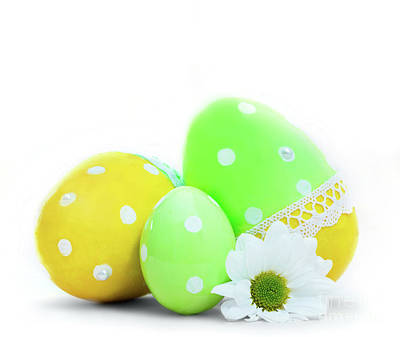 Photograph - Easter Eggs And Spring Flower Decoration On White by Michal Bednarek