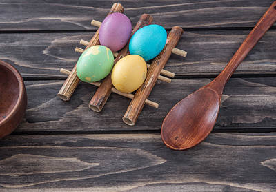 Photograph - Easter Eggs Composition On Wooden Background by Julian Popov