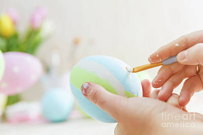 Decoupage Photograph - Easter Eggs Handicrafted With Pastel Stripes. by Michal Bednarek