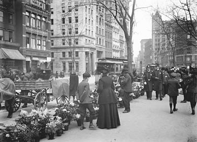 Horse And Wagon Photograph - Easter Flower Vendors In New York City by Padre Art