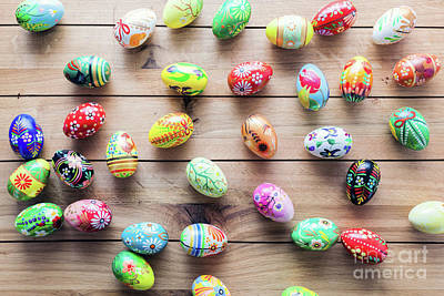 Table Photograph - Easter Handmade Eggs On Wooden Table. by Michal Bednarek