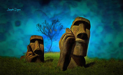 Hills Digital Art - Easter Island - Da by Leonardo Digenio