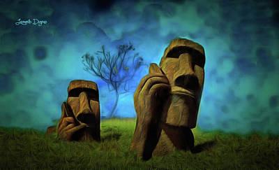 Phone Painting - Easter Island by Leonardo Digenio