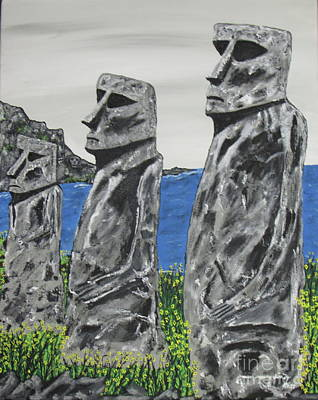 Painting - Easter Island Stone Men by Jeffrey Koss