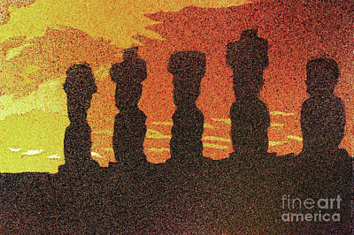 Painting - Easter Island Sunset II by Ryan Fox