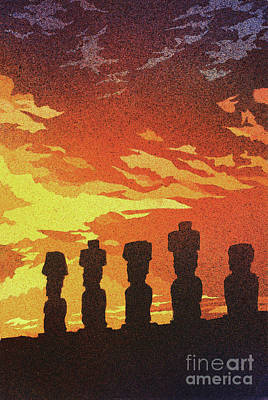 Easter Island Sunset Original by Ryan Fox