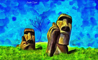 Cell Painting - Easter Island - Van Gogh Style - Pa by Leonardo Digenio