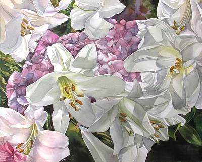 Painting - Easter Lilies With Hydrangea by Alfred Ng