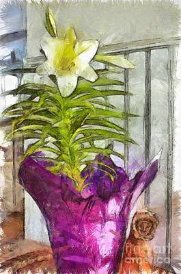 Wall Art - Mixed Media - Easter Lily And Doll by Claire Bull