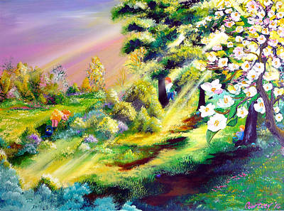 Landmarks Painting Royalty Free Images - Easter Morning Royalty-Free Image by American Artist Kris Courtney