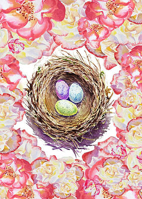Painting - Easter Nest And Roses by Irina Sztukowski