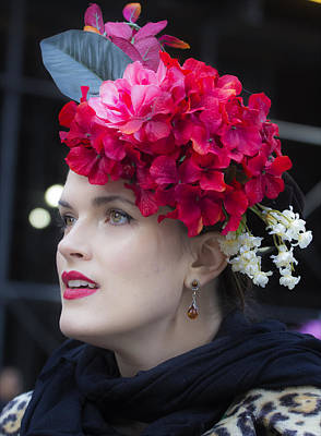 Easter Parade Photograph - Easter Parade  Nyc  3_27_16 Red Flower Hat by Robert Ullmann