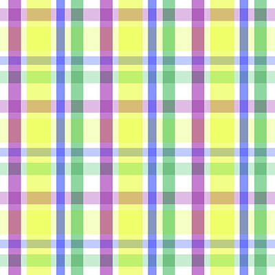 Art Print featuring the digital art Easter Pastel Plaid Striped Pattern by Shelley Neff