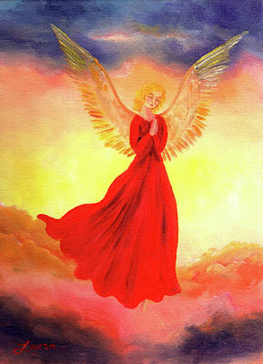 Painting - Easter Sunset Angel by Laura Iverson