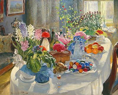 Easter Table Print by Alexander Vladimirovich Makovsky