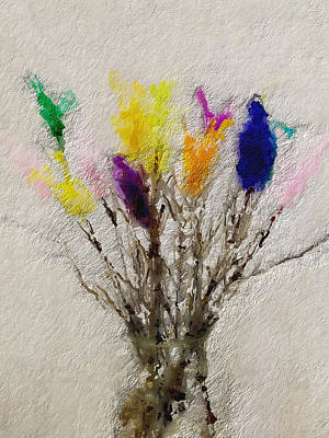 Card Painting - Easter Tree- Abstract Art By Linda Woods by Linda Woods