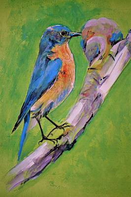 Painting - Eastern Blue Bird by Khalid Saeed