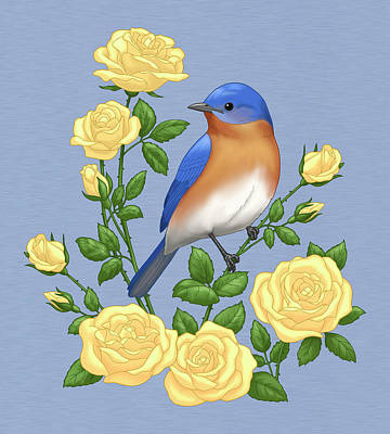 Bluebird Painting - Eastern Bluebird And Yellow Roses by Crista Forest