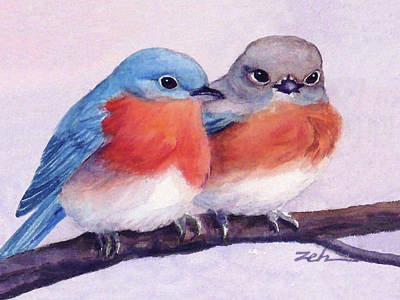 Painting - Eastern Bluebirds by Janet Zeh