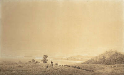 Drawing - Eastern Coast Of Rugen Island With Shepherd by Caspar David Friedrich