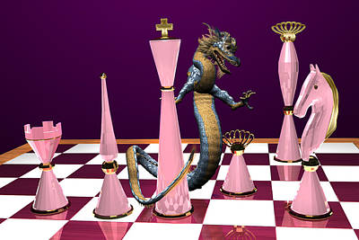 Photograph - Eastern Dragon Chess Set by Carlos Diaz