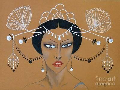 Drawing - Eastern Elegance -- Whimsical Asian Woman by Jayne Somogy