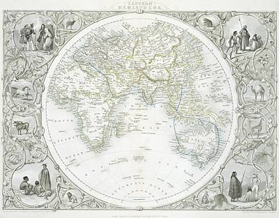 Globes Drawing - Eastern Hemisphere by John Rapkin