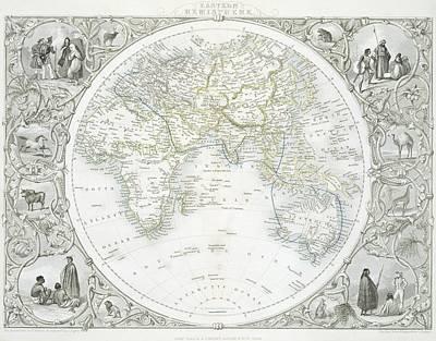 Planets Drawing - Eastern Hemisphere by John Rapkin