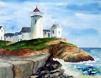 Eastern Point Light Art Print by Anne Trotter Hodge