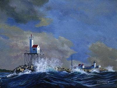 Tall Ships. Marine Art Painting - Eastern Point Light House by Phil Cusumano