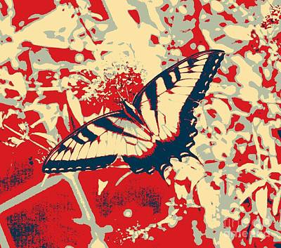 Southern Indiana Digital Art - Eastern Tiger Swallowtail Butterfly - Red Abstract by Scott D Van Osdol
